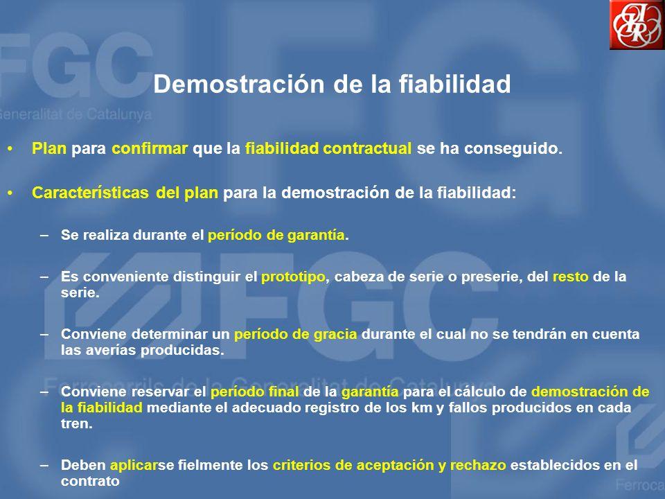 Demostración de la fiabilidad Plan para confirmar que la fiabilidad contractual se ha conseguido. Características del plan para la demostración de la