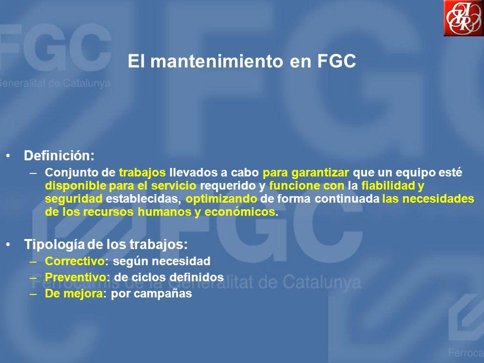 El mantenimiento en FGC Definición: –Conjunto de trabajos llevados a cabo para garantizar que un equipo esté disponible para el servicio requerido y f