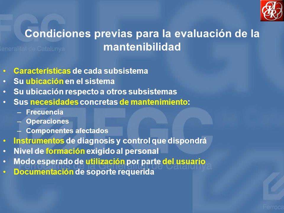 Condiciones previas para la evaluación de la mantenibilidad Características de cada subsistema Su ubicación en el sistema Su ubicación respecto a otro