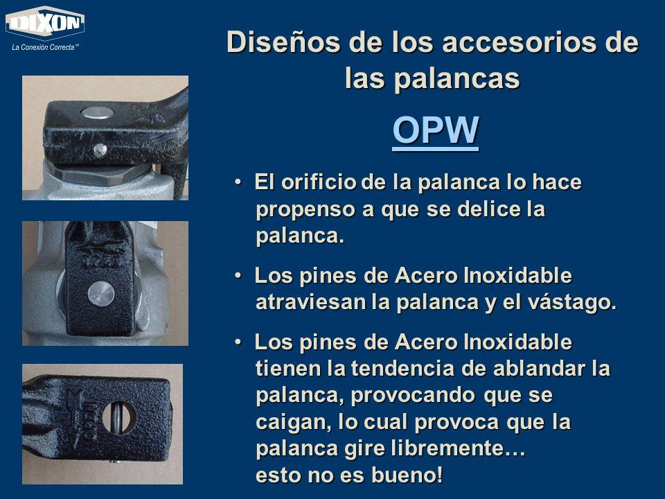 Diseños de los accesorios de las palancas OPW El orificio de la palanca lo hace propenso a que se delice la palanca. El orificio de la palanca lo hace