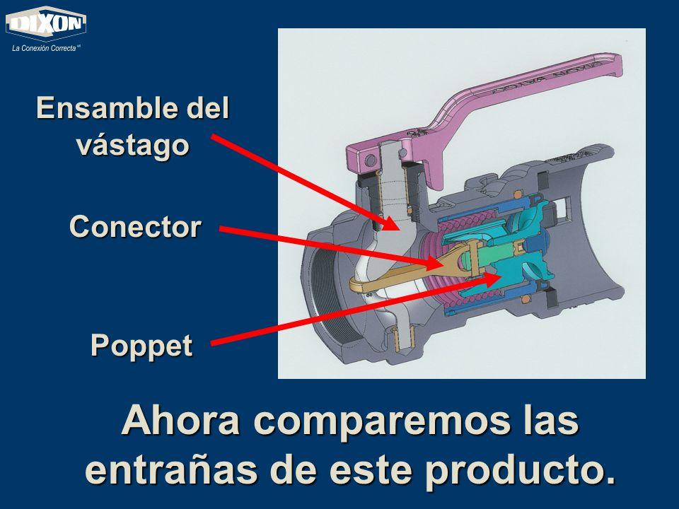 Ahora comparemos las entrañas de este producto. Ensamble del vástago Conector Poppet