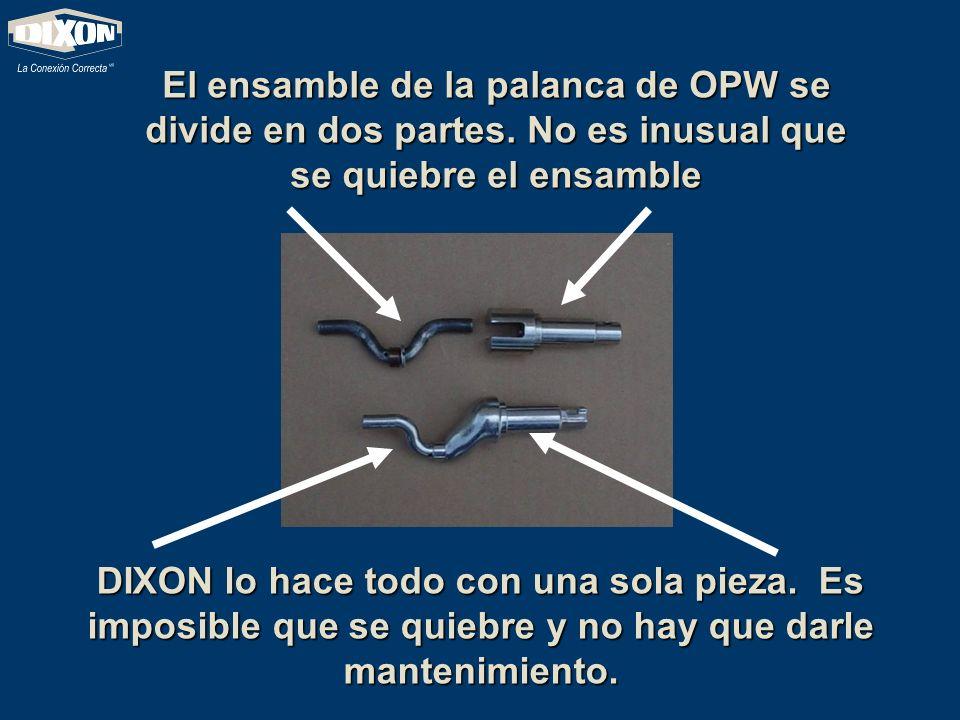 El ensamble de la palanca de OPW se divide en dos partes. No es inusual que se quiebre el ensamble DIXON lo hace todo con una sola pieza. Es imposible