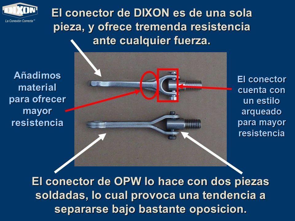 El conector de OPW lo hace con dos piezas soldadas, lo cual provoca una tendencia a separarse bajo bastante oposicion. El conector de DIXON es de una