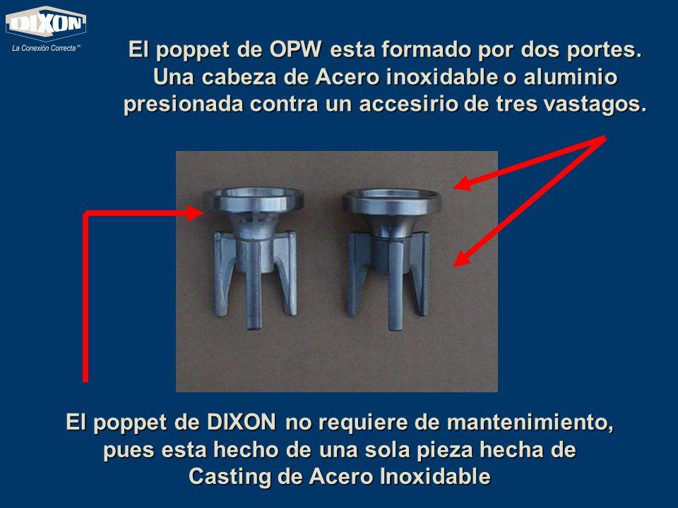 El poppet de OPW esta formado por dos portes. Una cabeza de Acero inoxidable o aluminio presionada contra un accesirio de tres vastagos. El poppet de