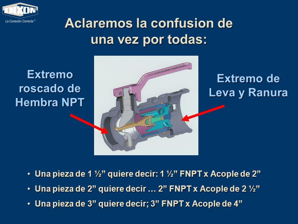 Aclaremos la confusion de una vez por todas: Extremo roscado de Hembra NPT Extremo de Leva y Ranura U Una pieza de 1 ½ quiere decir: 1 ½ FNPT x Acople