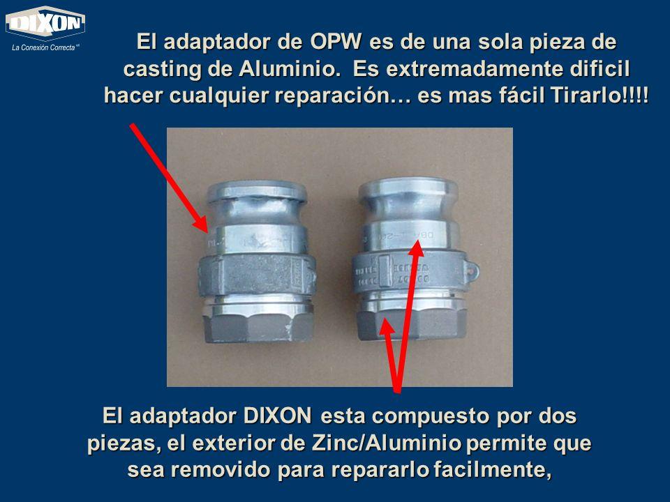 El adaptador de OPW es de una sola pieza de casting de Aluminio. Es extremadamente dificil hacer cualquier reparación… es mas fácil Tirarlo!!!! El ada