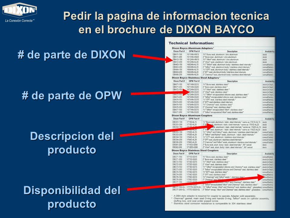 Pedir la pagina de informacion tecnica en el brochure de DIXON BAYCO # de parte de DIXON # de parte de OPW Descripcion del producto Disponibilidad del