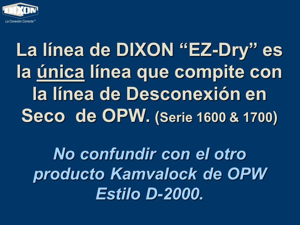 La línea de DIXON EZ-Dry es la única línea que compite con la línea de Desconexión en Seco de OPW. (Serie 1600 & 1700) No confundir con el otro produc