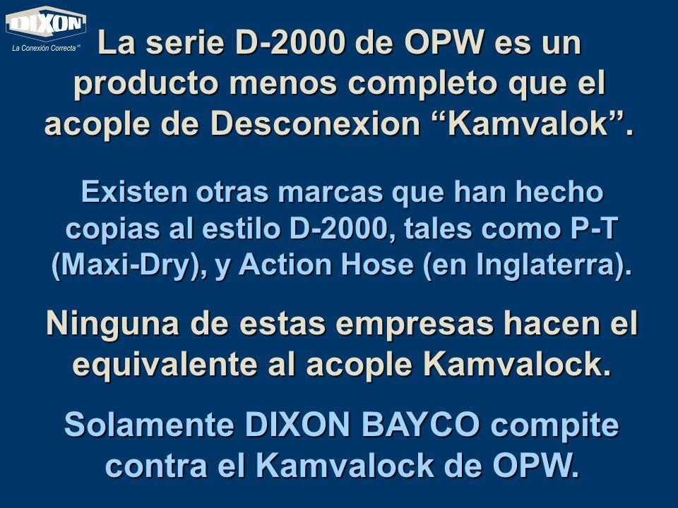 La serie D-2000 de OPW es un producto menos completo que el acople de Desconexion Kamvalok. Existen otras marcas que han hecho copias al estilo D-2000
