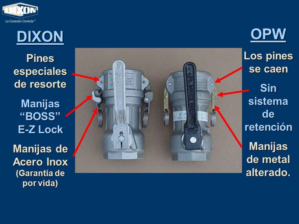 DIXON Pines especiales de resorte Manijas BOSS E-Z Lock Manijas de Acero Inox (Garantía de por vida) OPW Los pines se caen Sin sistema de retención Ma