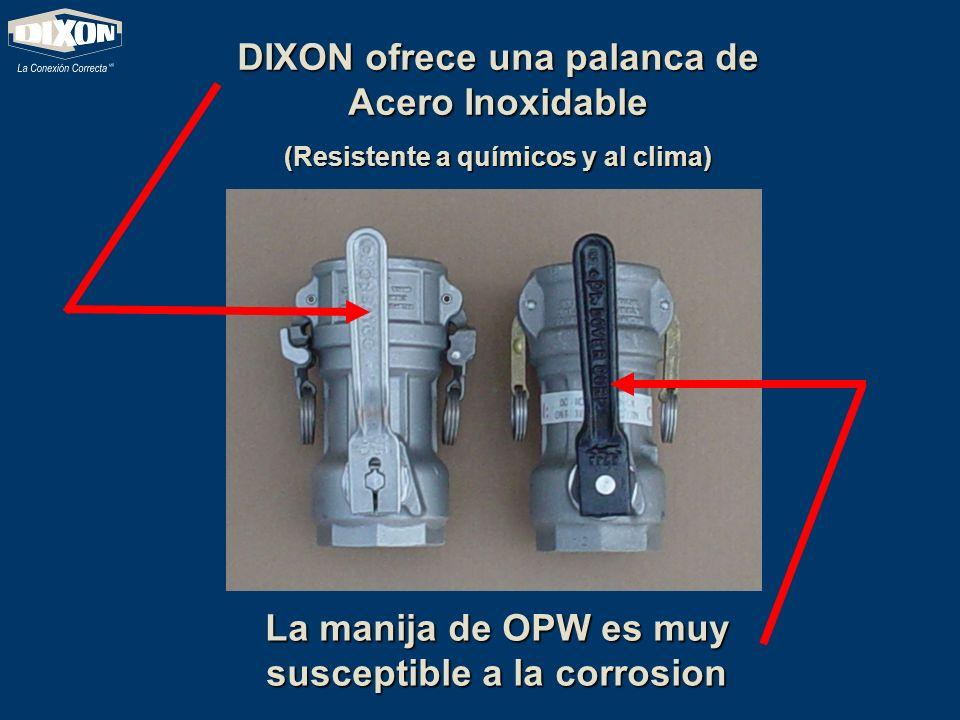 DIXON ofrece una palanca de Acero Inoxidable (Resistente a químicos y al clima) La manija de OPW es muy susceptible a la corrosion
