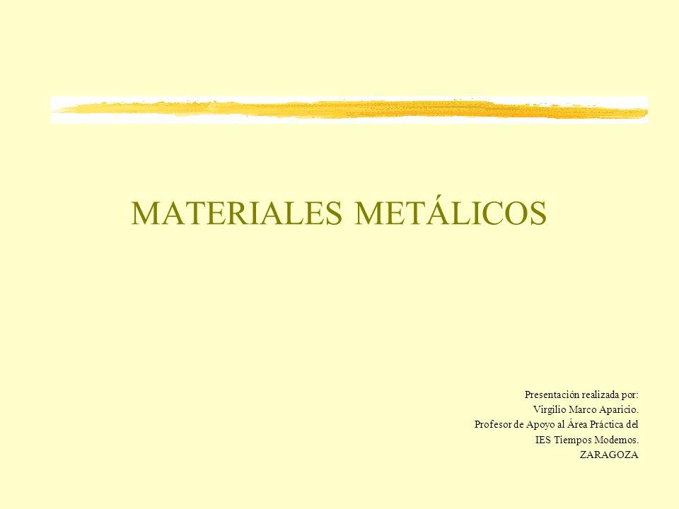 MATERIALES METÁLICOS Presentación realizada por: Virgilio Marco Aparicio. Profesor de Apoyo al Área Práctica del IES Tiempos Modernos. ZARAGOZA