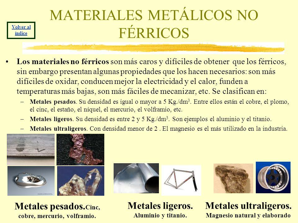 MATERIALES METÁLICOS NO FÉRRICOS Los materiales no férricos son más caros y difíciles de obtener que los férricos, sin embargo presentan algunas propi
