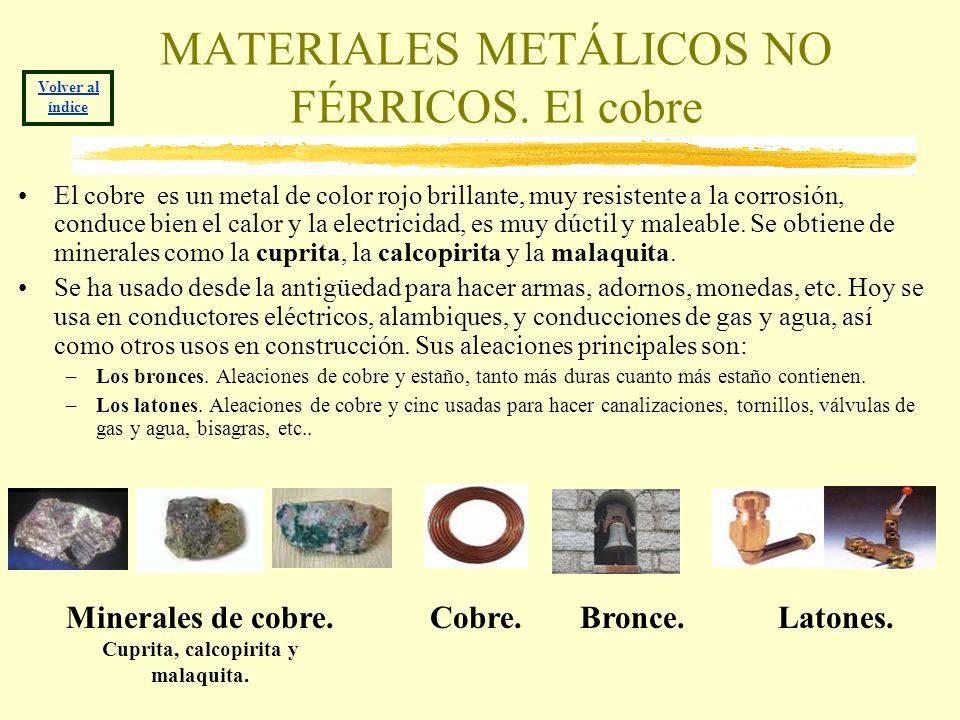 MATERIALES METÁLICOS NO FÉRRICOS. El cobre El cobre es un metal de color rojo brillante, muy resistente a la corrosión, conduce bien el calor y la ele