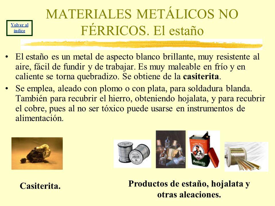 MATERIALES METÁLICOS NO FÉRRICOS. El estaño El estaño es un metal de aspecto blanco brillante, muy resistente al aire, fácil de fundir y de trabajar.