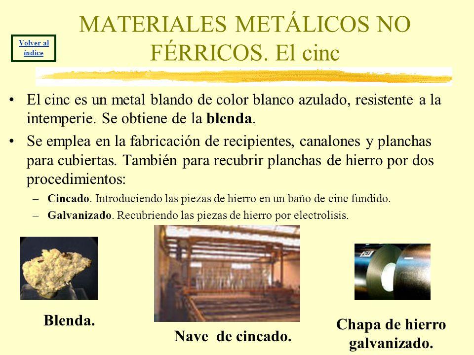 MATERIALES METÁLICOS NO FÉRRICOS. El cinc El cinc es un metal blando de color blanco azulado, resistente a la intemperie. Se obtiene de la blenda. Se
