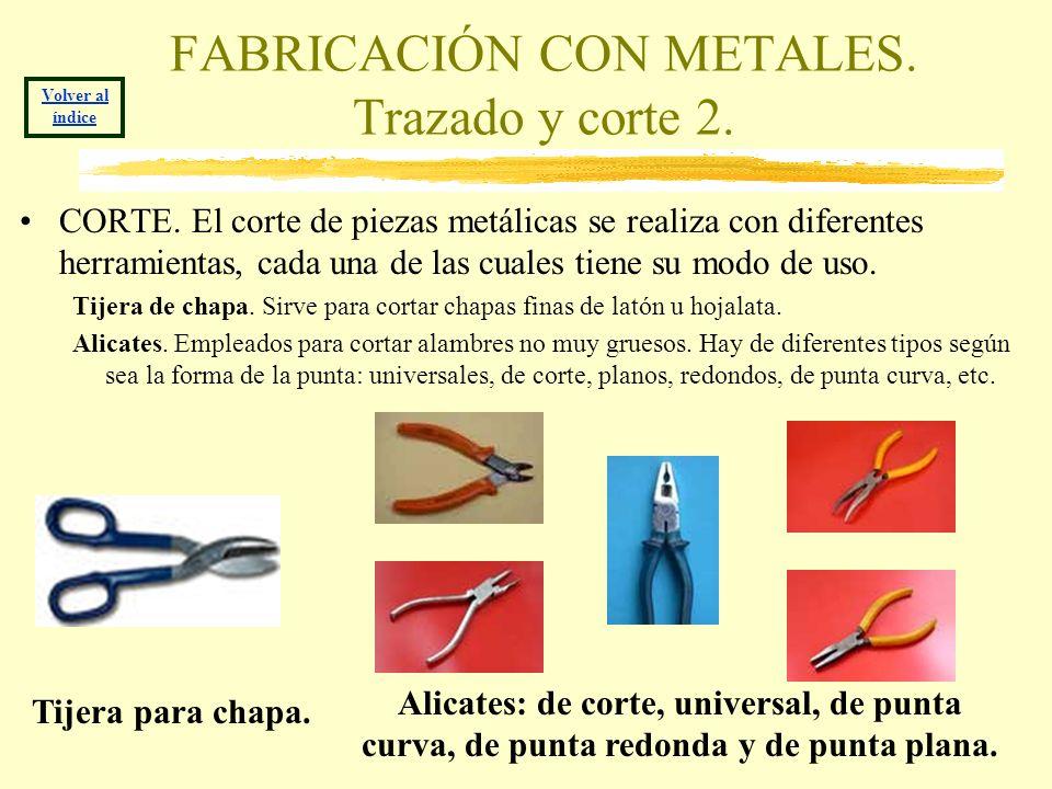 FABRICACIÓN CON METALES. Trazado y corte 2. CORTE. El corte de piezas metálicas se realiza con diferentes herramientas, cada una de las cuales tiene s