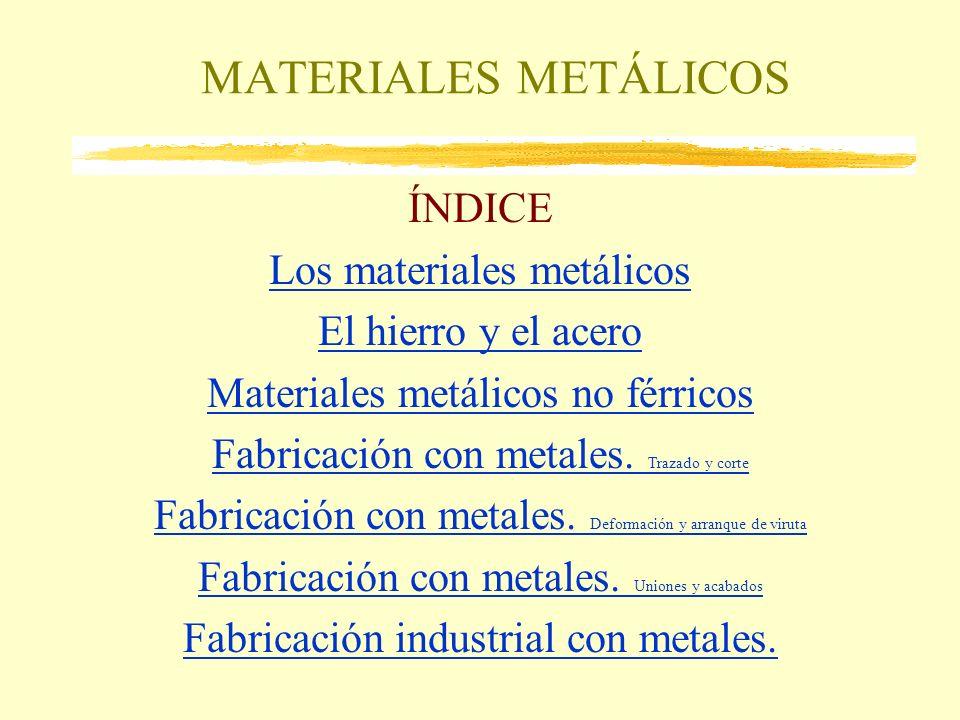 MATERIALES METÁLICOS ÍNDICE Los materiales metálicos El hierro y el acero Materiales metálicos no férricos Fabricación con metales. Trazado y corte Fa