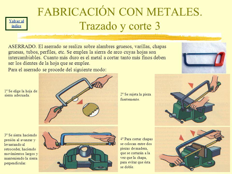 FABRICACIÓN CON METALES. Trazado y corte 3 ASERRADO. El aserrado se realiza sobre alambres gruesos, varillas, chapas gruesas, tubos, perfiles, etc. Se