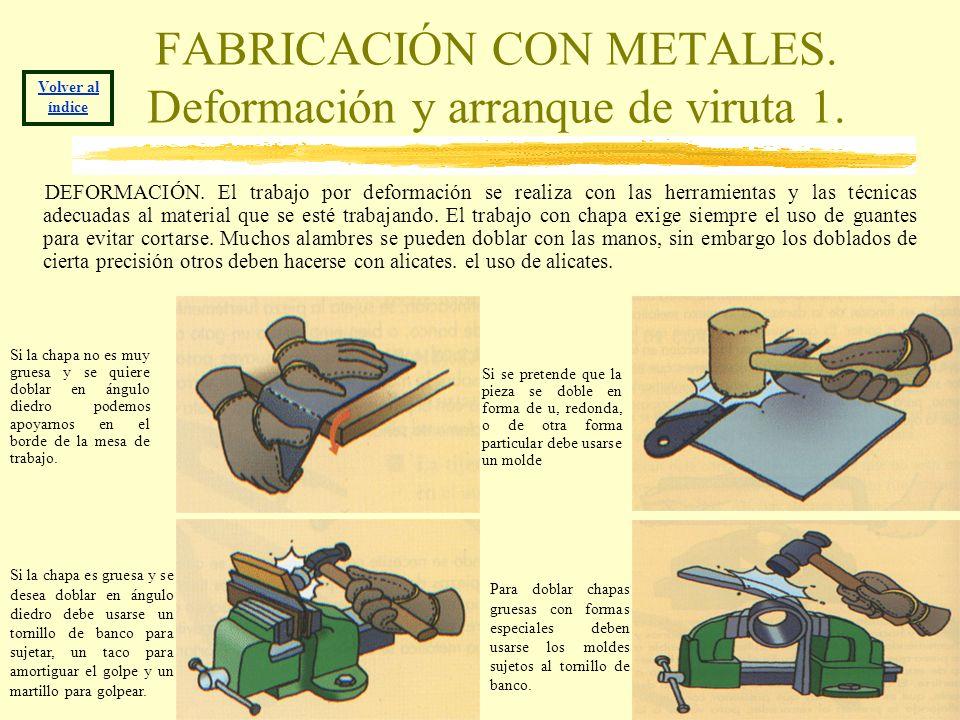 FABRICACIÓN CON METALES. Deformación y arranque de viruta 1. DEFORMACIÓN. El trabajo por deformación se realiza con las herramientas y las técnicas ad