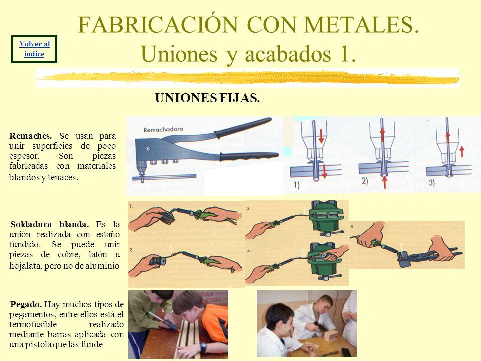 FABRICACIÓN CON METALES. Uniones y acabados 1. UNIONES FIJAS. Volver al índice Remaches. Se usan para unir superficies de poco espesor. Son piezas fab