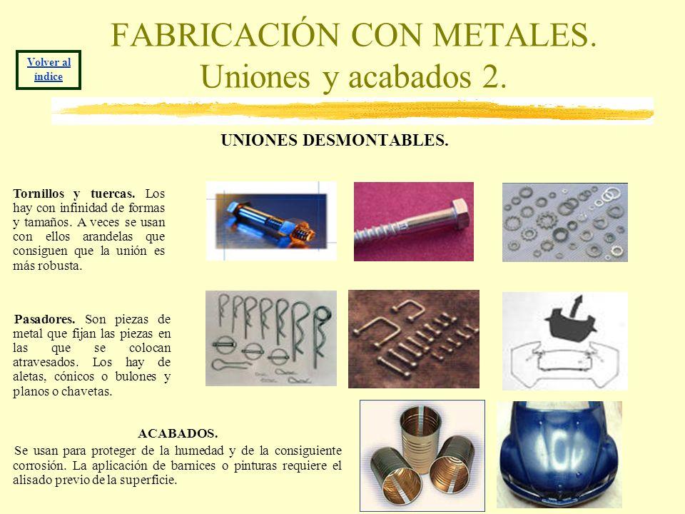 FABRICACIÓN CON METALES. Uniones y acabados 2. UNIONES DESMONTABLES. Volver al índice Tornillos y tuercas. Los hay con infinidad de formas y tamaños.