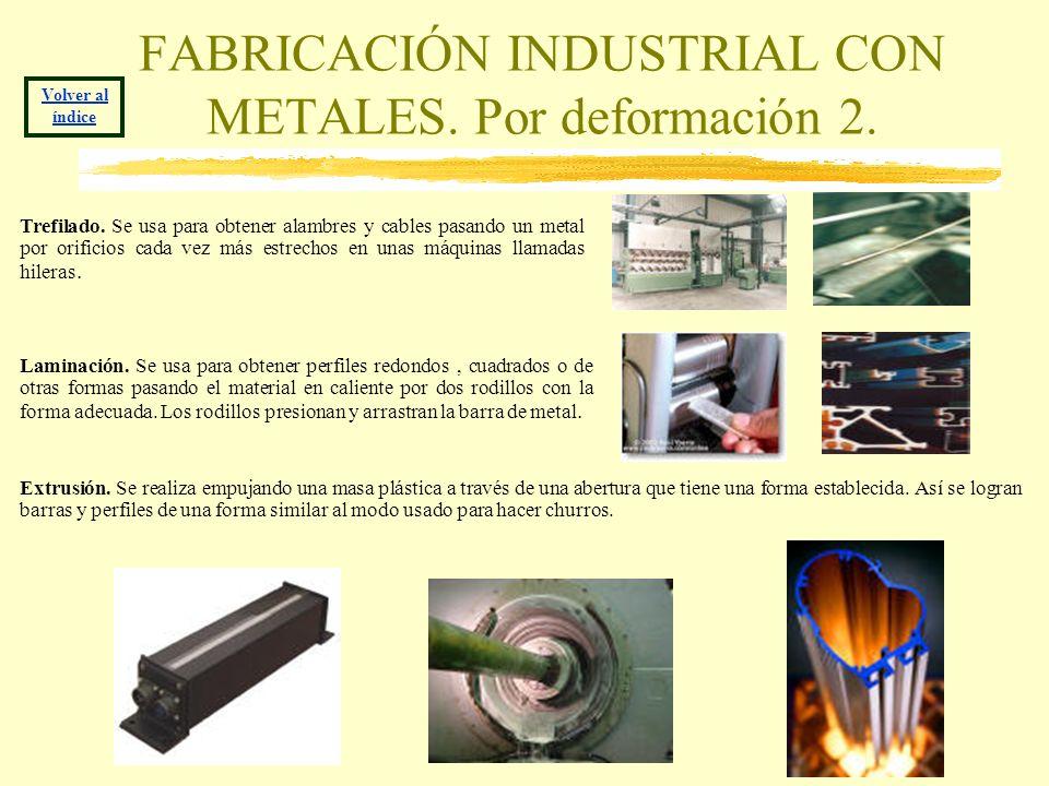 FABRICACIÓN INDUSTRIAL CON METALES. Por deformación 2. Volver al índice Trefilado. Se usa para obtener alambres y cables pasando un metal por orificio