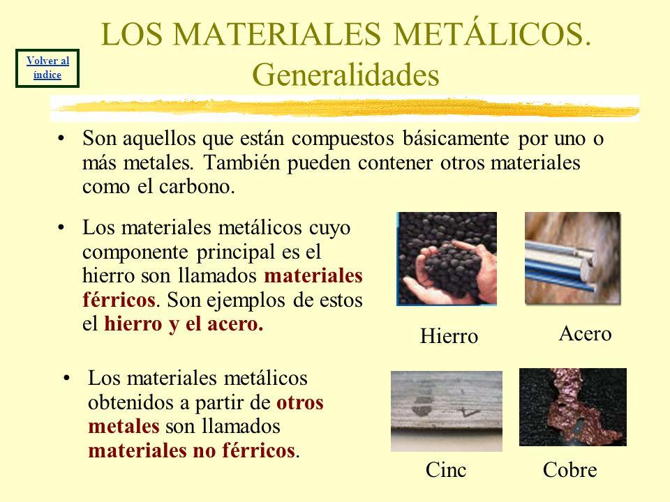LOS MATERIALES METÁLICOS. Generalidades Son aquellos que están compuestos básicamente por uno o más metales. También pueden contener otros materiales