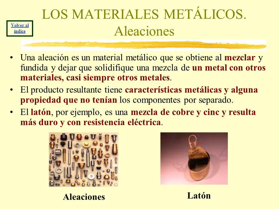LOS MATERIALES METÁLICOS. Aleaciones Una aleación es un material metálico que se obtiene al mezclar y fundida y dejar que solidifique una mezcla de un