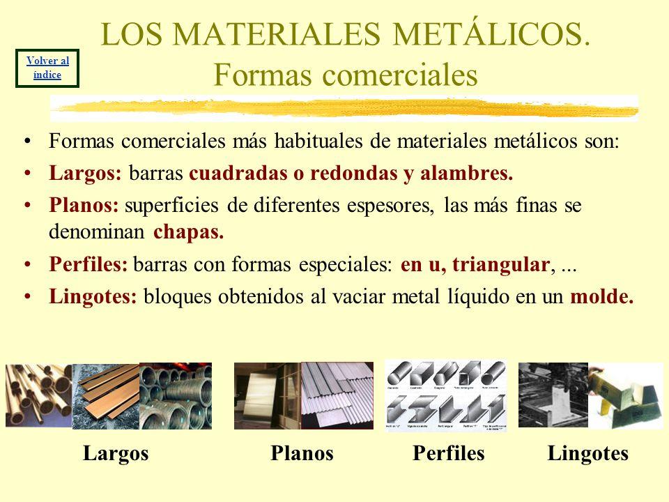 LOS MATERIALES METÁLICOS. Formas comerciales Formas comerciales más habituales de materiales metálicos son: Largos: barras cuadradas o redondas y alam