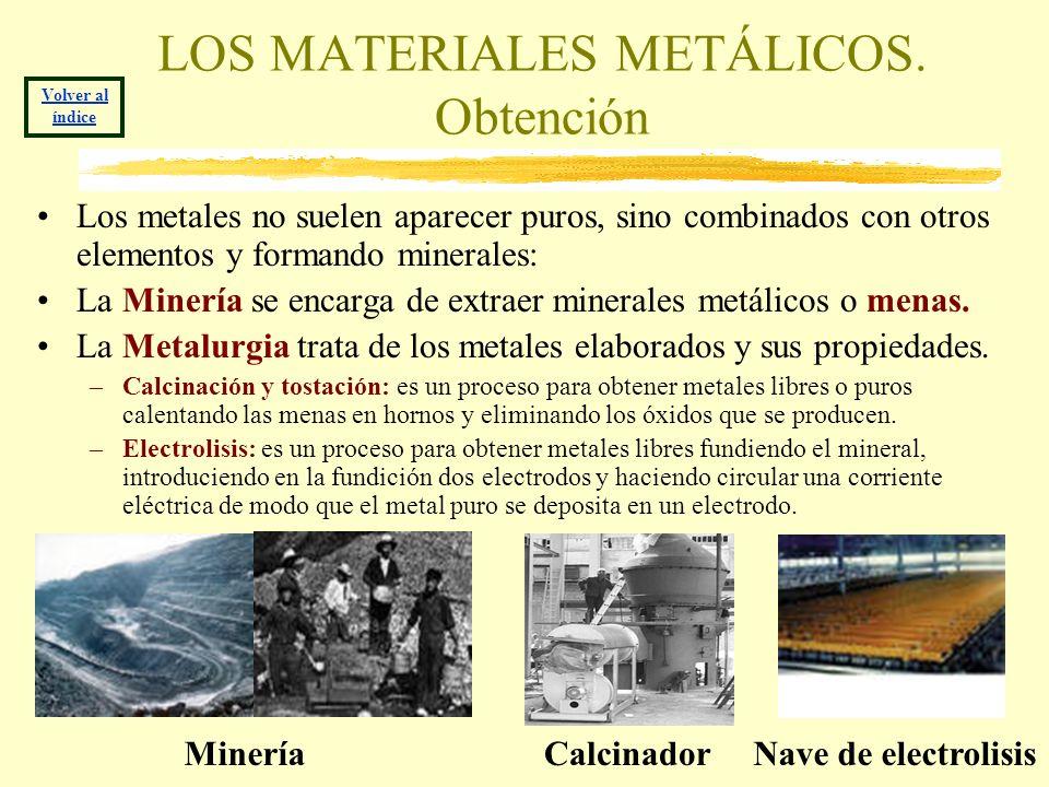 LOS MATERIALES METÁLICOS. Obtención Los metales no suelen aparecer puros, sino combinados con otros elementos y formando minerales: La Minería se enca