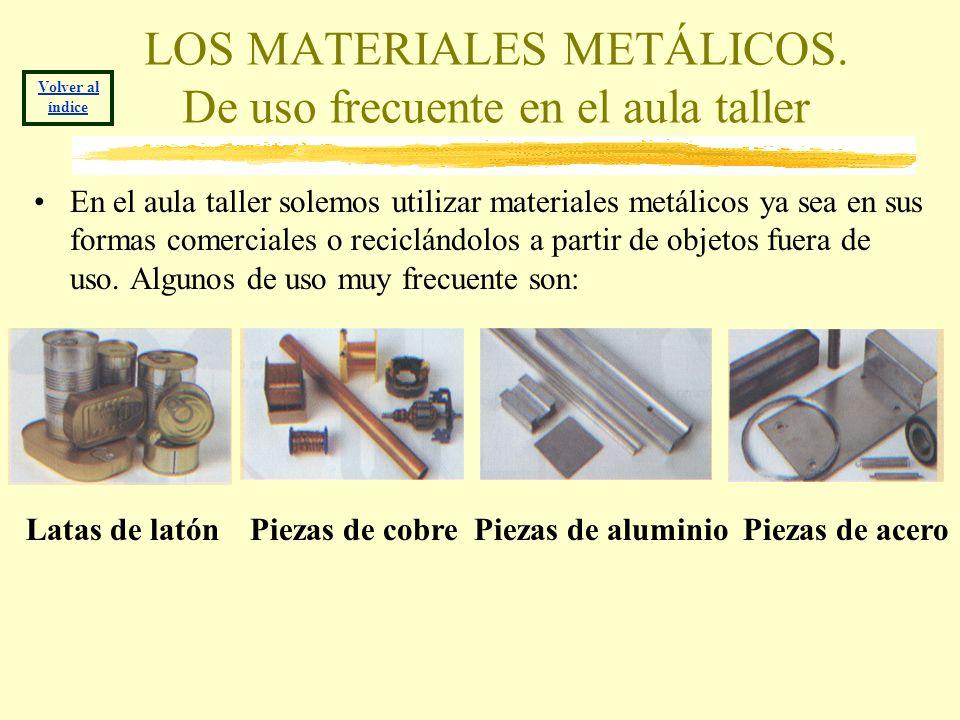 LOS MATERIALES METÁLICOS. De uso frecuente en el aula taller En el aula taller solemos utilizar materiales metálicos ya sea en sus formas comerciales