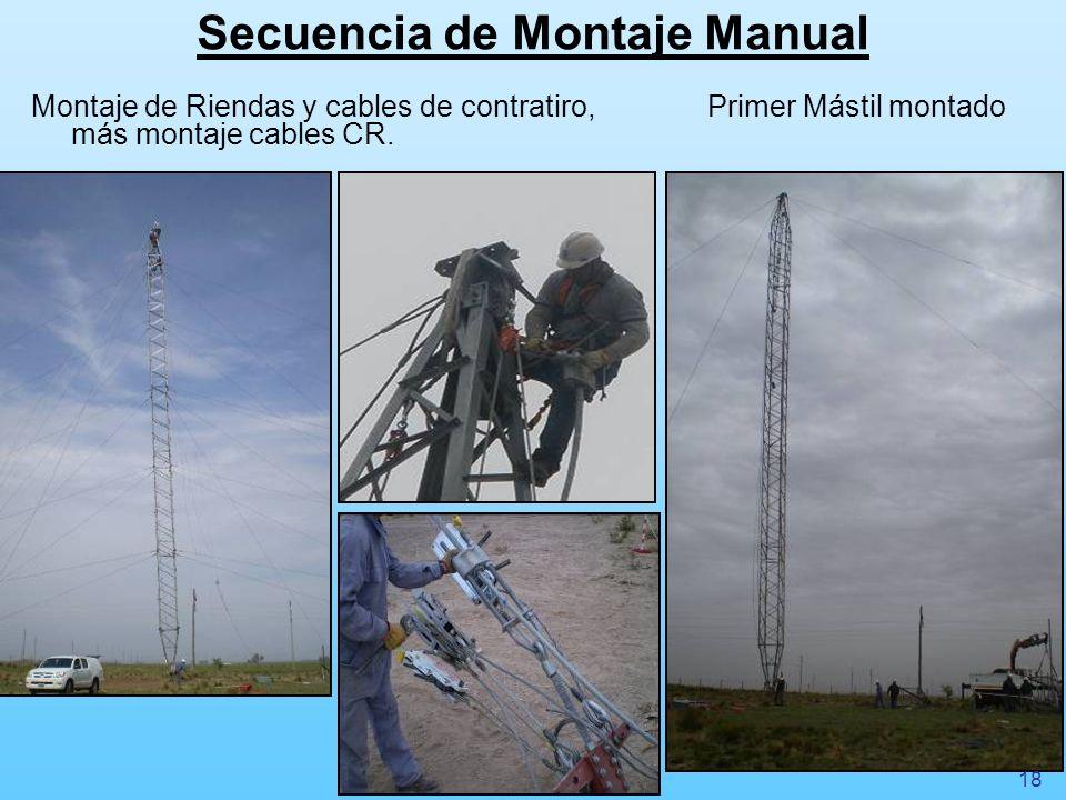 Secuencia de Montaje Manual Montaje de Riendas y cables de contratiro, más montaje cables CR. Primer Mástil montado 18