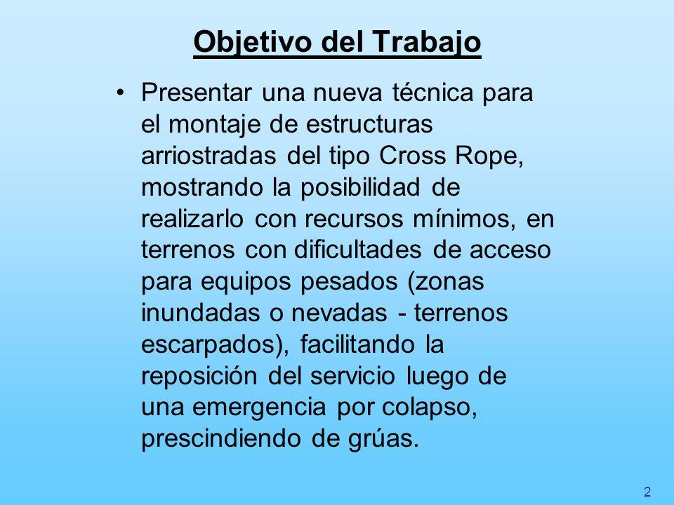 Objetivo del Trabajo Presentar una nueva técnica para el montaje de estructuras arriostradas del tipo Cross Rope, mostrando la posibilidad de realizar