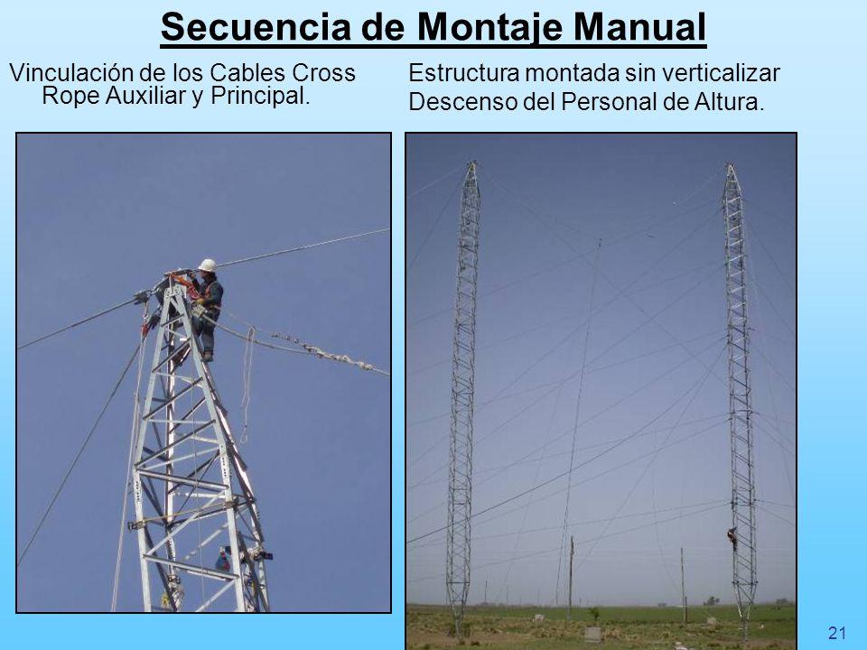 Secuencia de Montaje Manual Vinculación de los Cables Cross Rope Auxiliar y Principal. Estructura montada sin verticalizar Descenso del Personal de Al