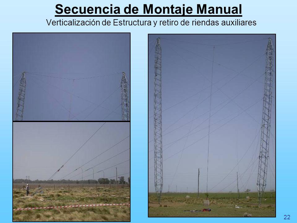 Secuencia de Montaje Manual Verticalización de Estructura y retiro de riendas auxiliares 22