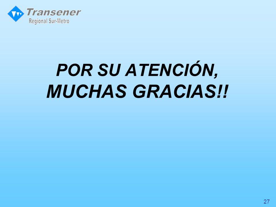 POR SU ATENCIÓN, MUCHAS GRACIAS!! 27