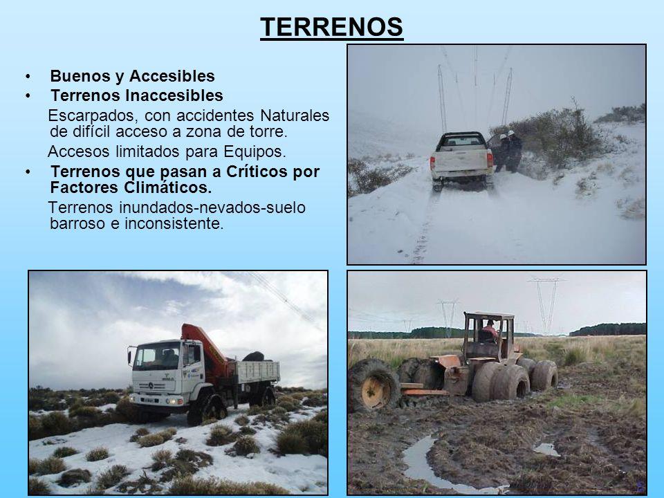 TERRENOS Buenos y Accesibles Terrenos Inaccesibles Escarpados, con accidentes Naturales de difícil acceso a zona de torre. Accesos limitados para Equi