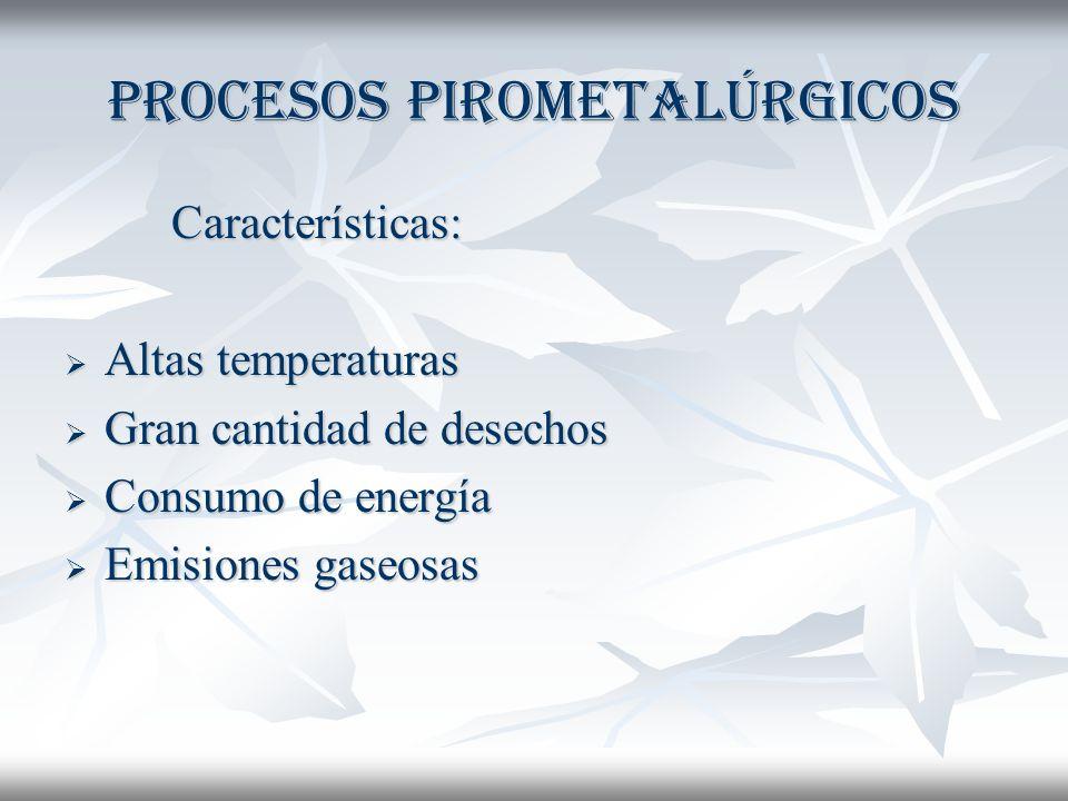 Procesos pirometalúrgicos Características: Altas temperaturas Altas temperaturas Gran cantidad de desechos Gran cantidad de desechos Consumo de energía Consumo de energía Emisiones gaseosas Emisiones gaseosas