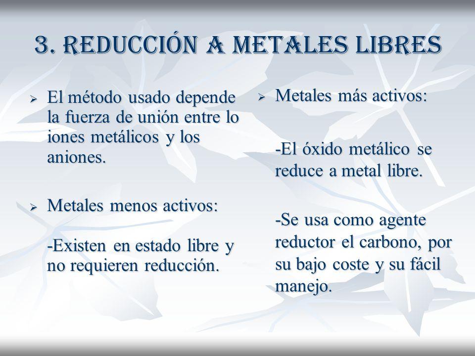 3. Reducción a metales libres El método usado depende la fuerza de unión entre lo iones metálicos y los aniones. El método usado depende la fuerza de