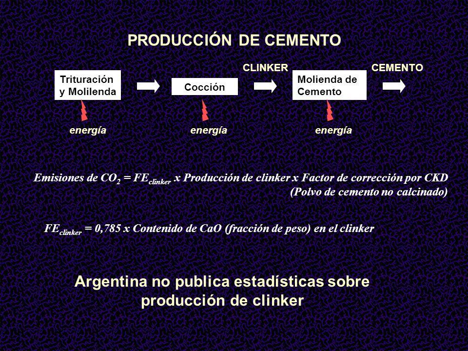 PRODUCCIÓN DE CEMENTO Trituración y Molilenda Cocción Molienda de Cemento CLINKERCEMENTO energía Emisiones de CO 2 = FE clinker x Producción de clinker x Factor de corrección por CKD (Polvo de cemento no calcinado) FE clinker = 0,785 x Contenido de CaO (fracción de peso) en el clinker Argentina no publica estadísticas sobre producción de clinker