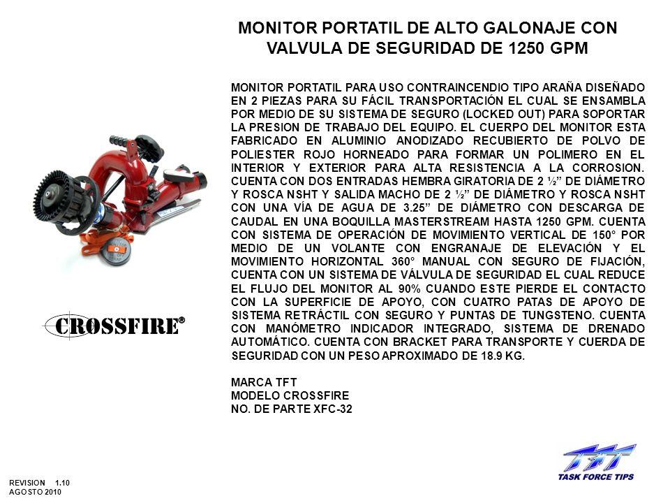 MONITOR PORTATIL DE ALTO GALONAJE CON VALVULA DE SEGURIDAD DE 1250 GPM MONITOR PORTATIL PARA USO CONTRAINCENDIO TIPO ARAÑA DISEÑADO EN 2 PIEZAS PARA S
