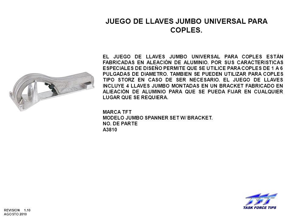 JUEGO DE LLAVES JUMBO UNIVERSAL PARA COPLES. EL JUEGO DE LLAVES JUMBO UNIVERSAL PARA COPLES ESTÁN FABRICADAS EN ALEACIÓN DE ALUMINIO. POR SUS CARACTER