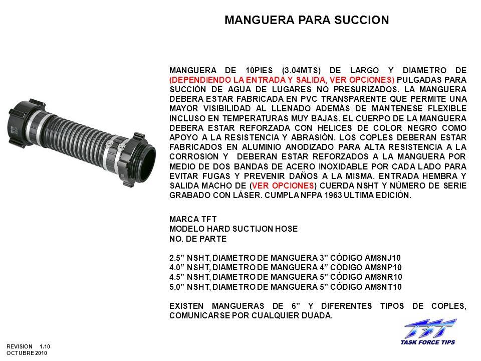 MANGUERA PARA SUCCION MANGUERA DE 10PIES (3.04MTS) DE LARGO Y DIAMETRO DE (DEPENDIENDO LA ENTRADA Y SALIDA, VER OPCIONES) PULGADAS PARA SUCCIÓN DE AGU