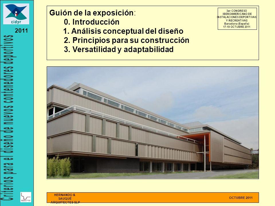 Guión de la exposición: 0. Introducción 1. Análisis conceptual del diseño 2. Principios para su construcción 3. Versatilidad y adaptabilidad OCTUBRE 2
