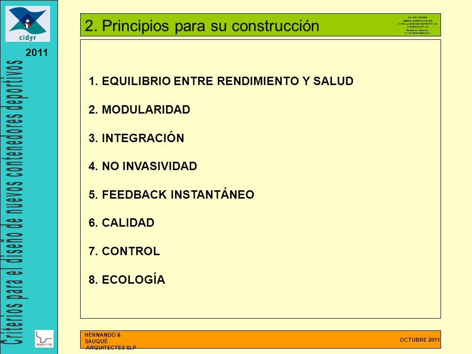 OCTUBRE 2011 HERNANDO & SAUQUÉ ARQUITECTES SLP 2011 1. EQUILIBRIO ENTRE RENDIMIENTO Y SALUD 2. MODULARIDAD 3. INTEGRACIÓN 4. NO INVASIVIDAD 5. FEEDBAC