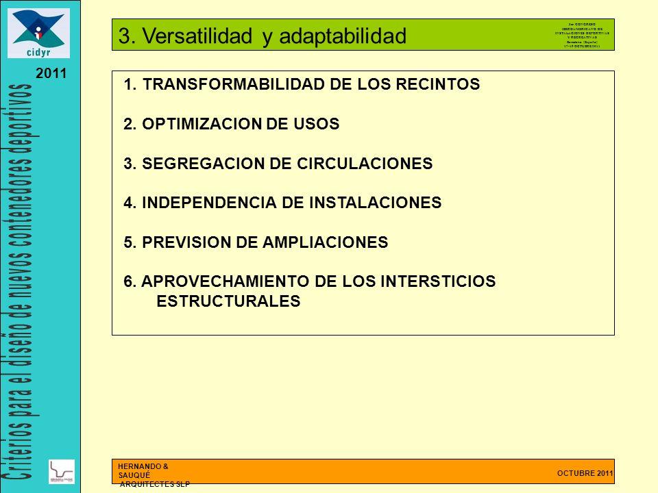 OCTUBRE 2011 HERNANDO & SAUQUÉ ARQUITECTES SLP 2011 1. TRANSFORMABILIDAD DE LOS RECINTOS 2. OPTIMIZACION DE USOS 3. SEGREGACION DE CIRCULACIONES 4. IN