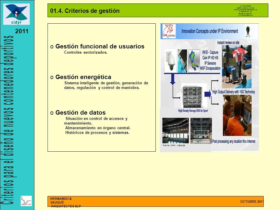 01.4. Criterios de gestión OCTUBRE 2011 HERNANDO & SAUQUÉ ARQUITECTES SLP o Gestión funcional de usuarios Controles sectorizados. o Gestión energética