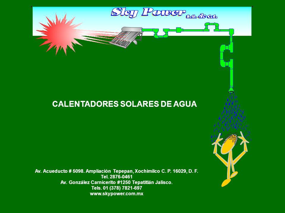 INSTALACIÓN ESQUEMÁTICA POR GRAVEDAD DE CALENTADORES SOLARES (DIRECTA A LÍNEA DE AGUA CALIENTE) Recomendada para boilers sin aislante térmico Tinaco Flotador Nivel de agua Calentador Solar Agua caliente a casa Agua fría a casa Boiler Jarro de aire Bomba 1 3 2 64 G Llaves de esfera G = Abierta 1 = Abierta 2 = Abierta 3 = Cerrada 4 = Cerrada 5 = Abierta 6 = Cerrada By-pass 5