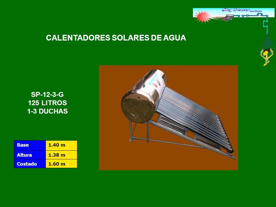 MaterialVidrio de borosilicato de alta calidad Longitud1.8 m Diámetro58 mm Espesor del vacío5 mm Espesor de la pared2 mm Peso del tubo1.8 kg Alto vacío, estabilidad a largo plazo 5×10 -3 Pa Material absorbenteAluminio RecubrimientoNitrato de Aluminio Coeficiente de absorciónα0.94 Resistencia al viento30 m/s Tolerancia al congelamiento - 30° C Resistencia al granizoGranizo de hasta 25 mm Resistencia a la presión0,6 Mpa Aislamiento de temperatura 250° C Temperatura de arranque 25° C Tiempo de arranqueNo mayor a 3 minutos Capacidad del tanque125 litros.